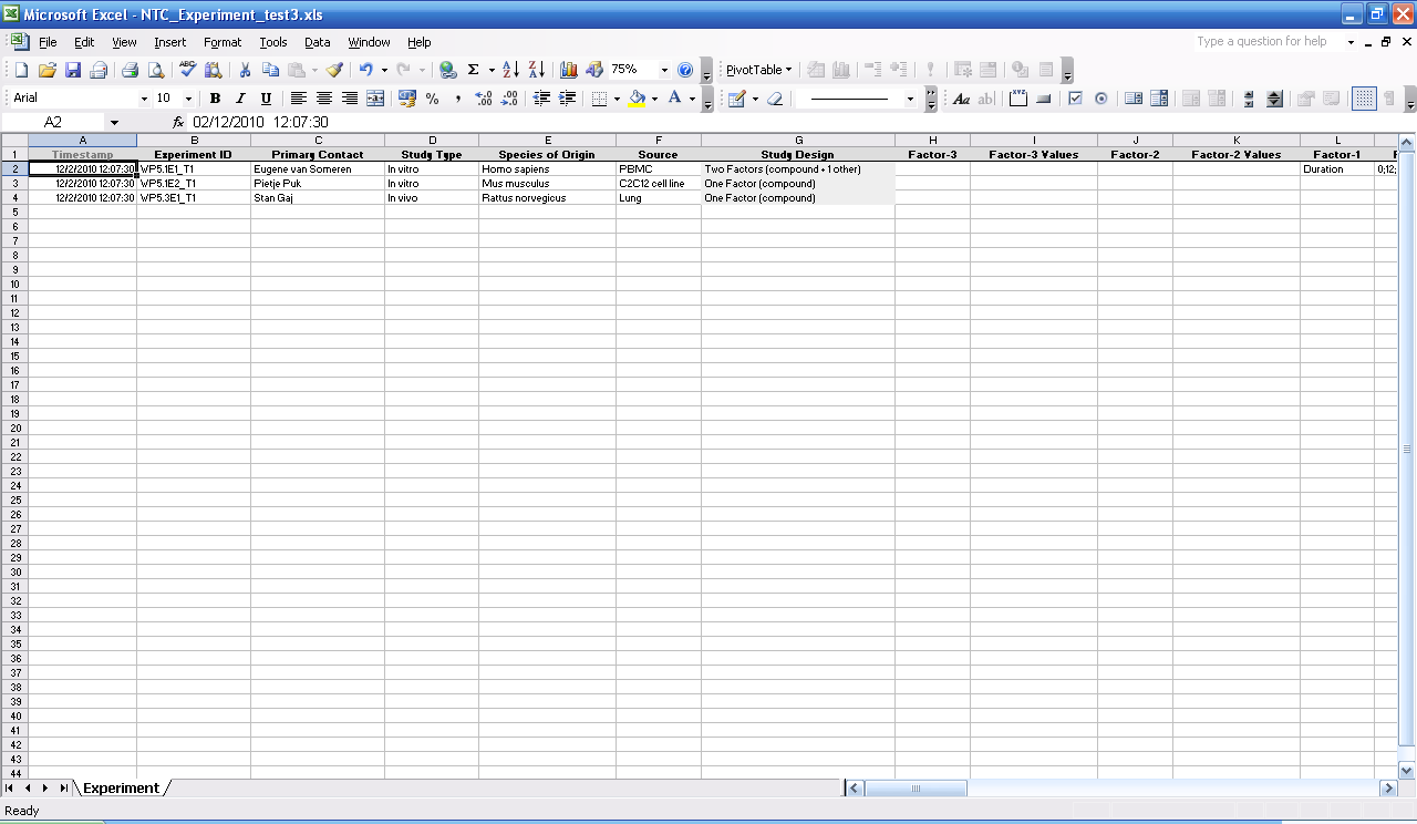 Screenshot of NTC Experiment test3 (only left-most columns)